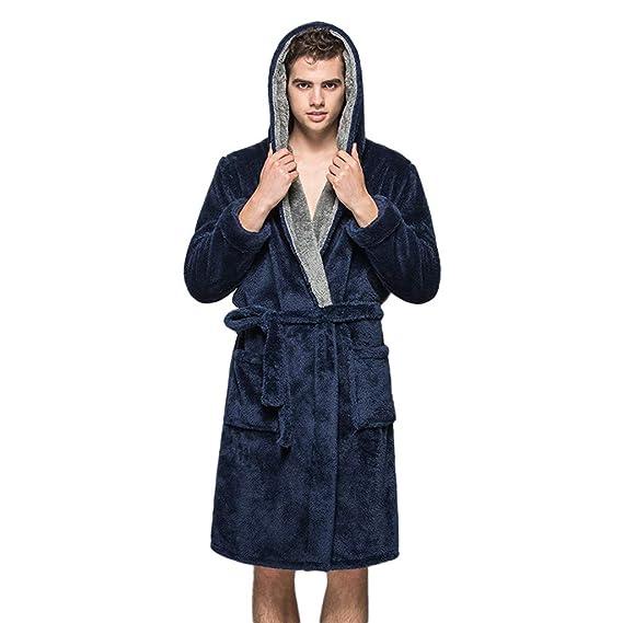 0321565c4b0 Keepwin Polaire Homme Femme Peignoir de Bain Robe de Chambre Pyjama  Peignoir à Capuche Longue Hiver  Amazon.fr  Vêtements et accessoires