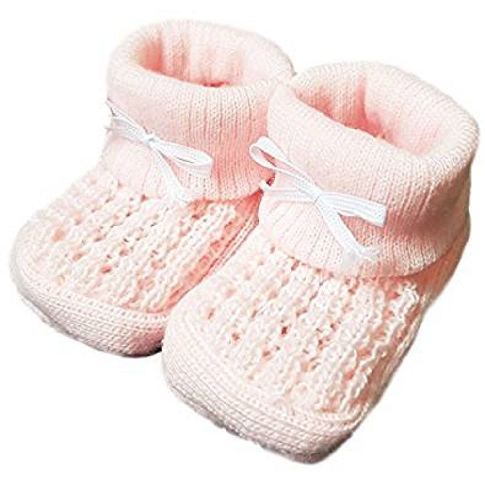 BABY KNITTED BOOTIES BOYS GIRLS SOCKS NEWBORN BOOTEES S 0-3 mths APPROX (Pink) QI