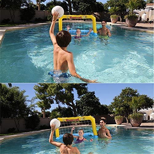 Pannow Inflatable Football Goal Net with Balls,Pool Water Game Family Fun Soccer Game Goal Post Water Toys for Adults and Kids -