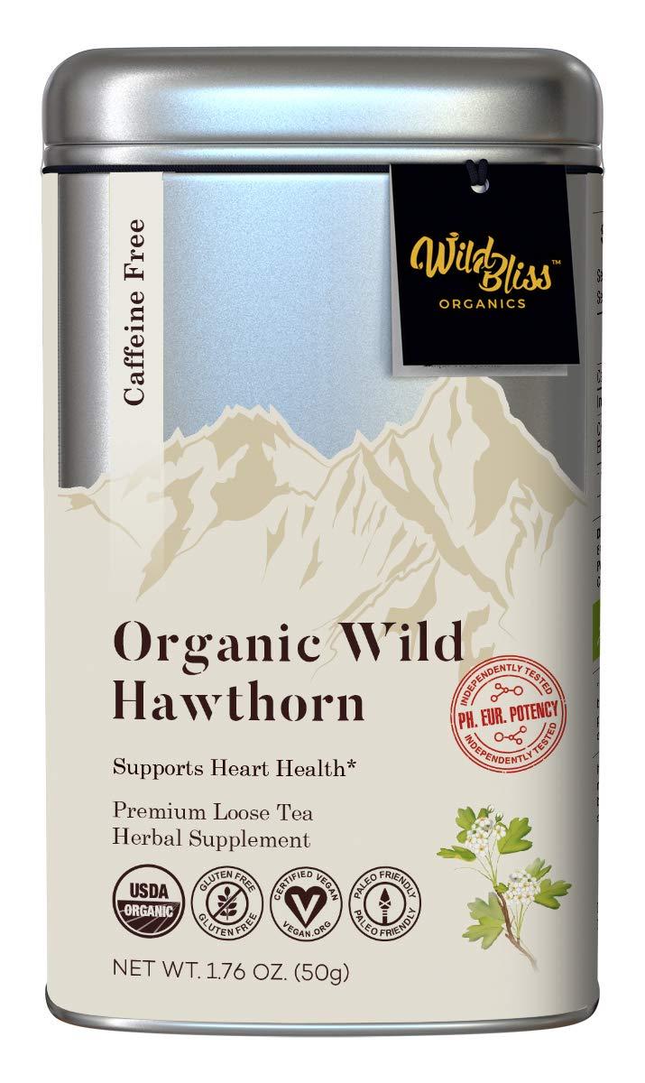 Hawthorn Tea – Organic Loose Leaf and Flower – Caffeine Free – Pharmacopoeia Grade Potency 1.76 Ounces 25 Servings