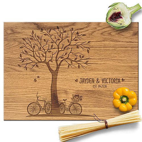 Froolu Bicycle and Tree wooden cutting board for Custom Name Engraved Anniversary Gifts ()