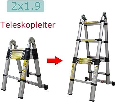 hehi Lark Escalera telescópica, aluminio escalera multifunción regulable pie a ambos lados y escaleras escalera de 96 cm hasta 2,50 m Escalera, 150 kg carga máxima