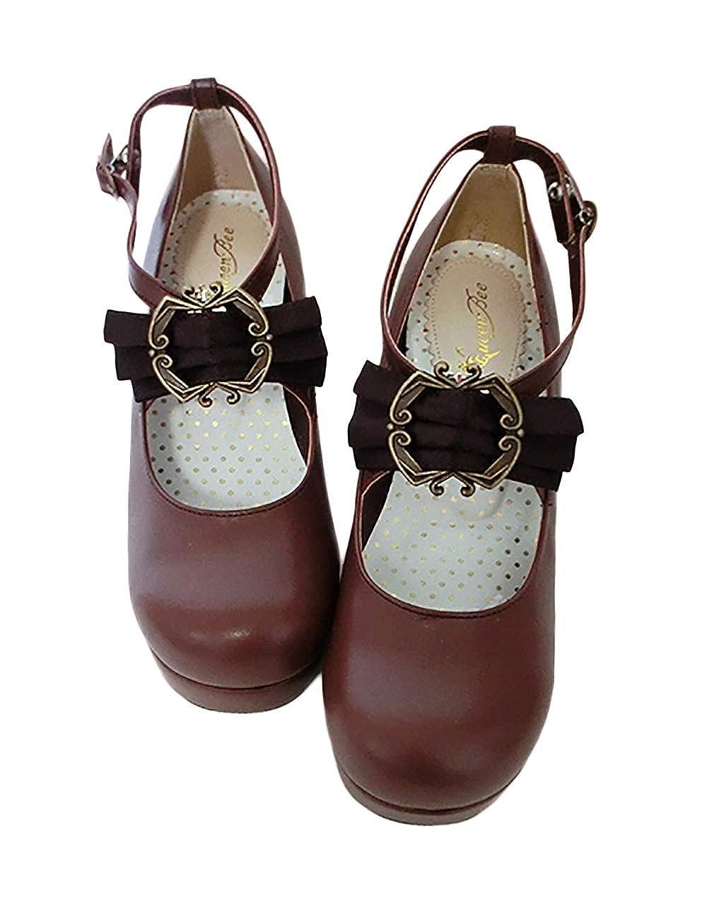 FIYOMET Chaussures habill/ées Plates pour Femmes Chaussures en Cuir Simples et Confortables de Lolita pour Femmes