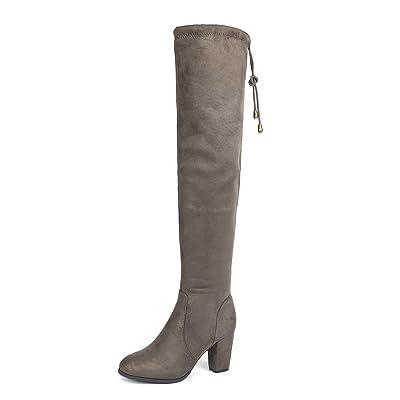 DREAM PAIRS Women\'s Highleg Khaki Suede Over The Knee Thigh High Winter Heel Boots - 10 M US   Knee-High [3Bkhe0205820]