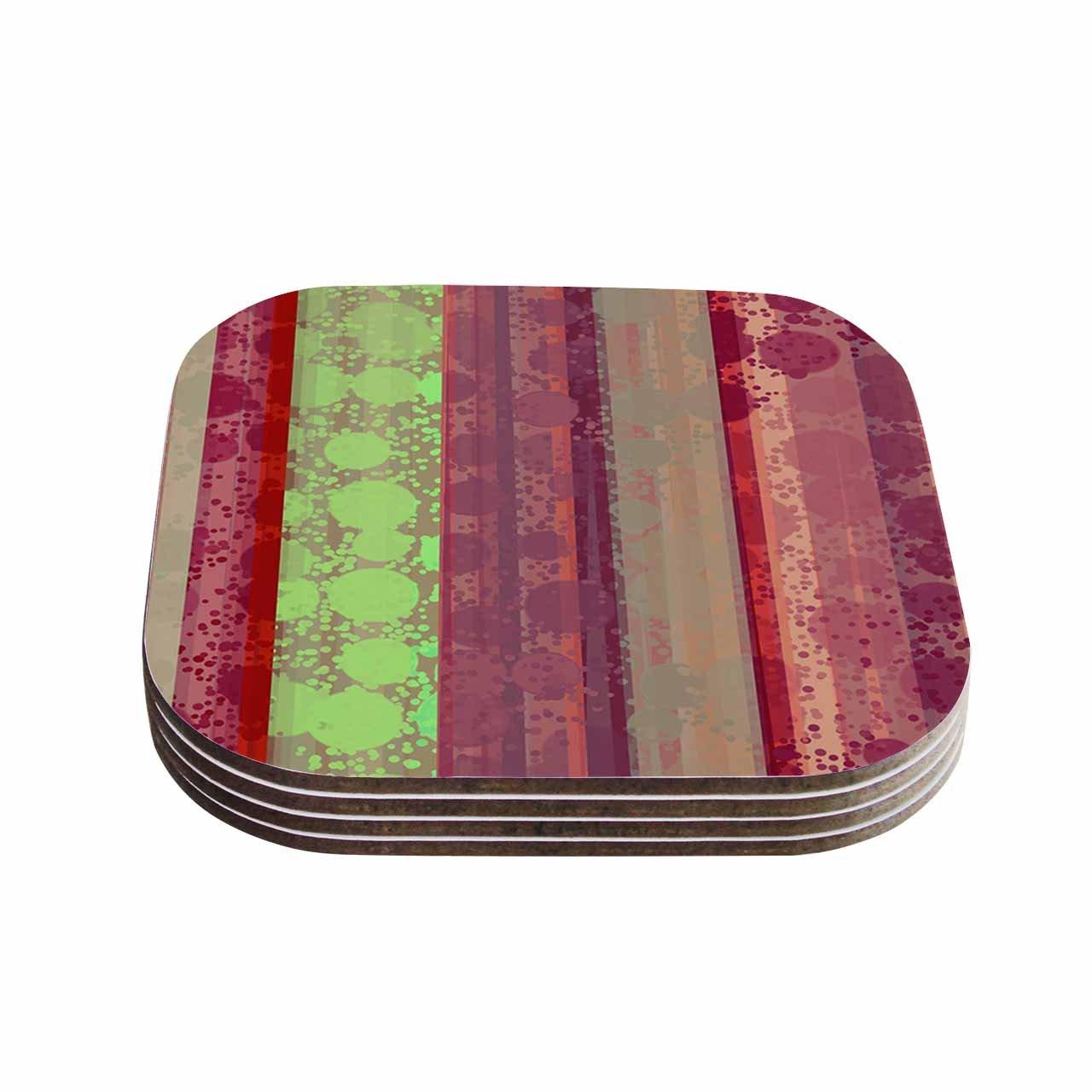 Set of 4 4 x 4 KESS InHouse Cvetelina TodorovaMagic Carpet Green Maroon Coasters Multicolor