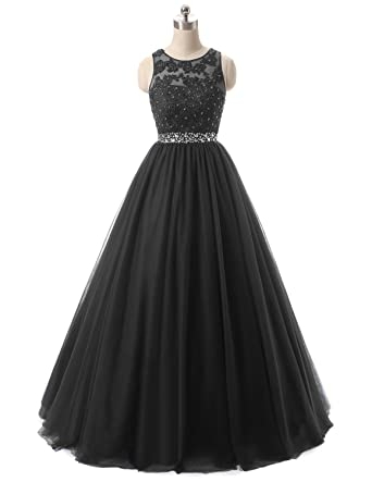 f4f27fba901c HEIMO Women's Open Back Sequined Evening Party Gowns Beaded Lace Formal  Prom Dresses Long H379 0