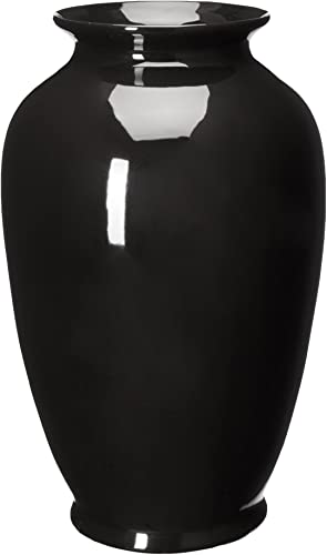 Oriental Furniture 14 Solid Black Porcelain Tung Chi Vase