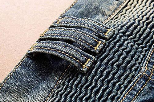 A Moto Lanceyy Strappati Vestibilità Da Blu Bassa Slim Jeans Vita Uomo Semplice Stile Stretch 5WWCqASwg4