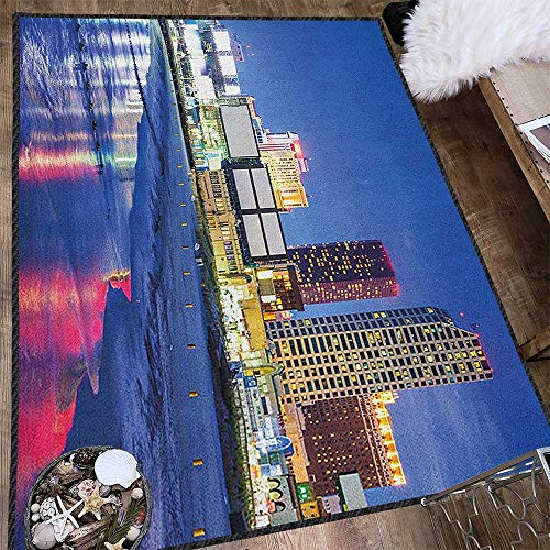 City Print Area Rug,Resort Casinos on Shore at Night Atlantic City New Jersey United States Multicolor & Anti-Skid Violet Blue Pink Yellow 71