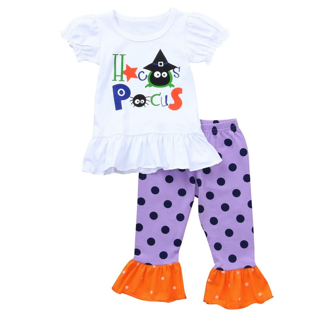 2PCS Halloween Clothes Sets Ankola Toddler Baby Girls Letter Short Sleeve Tops +Dots Print Pants Halloween Outfits Set (3T, White)