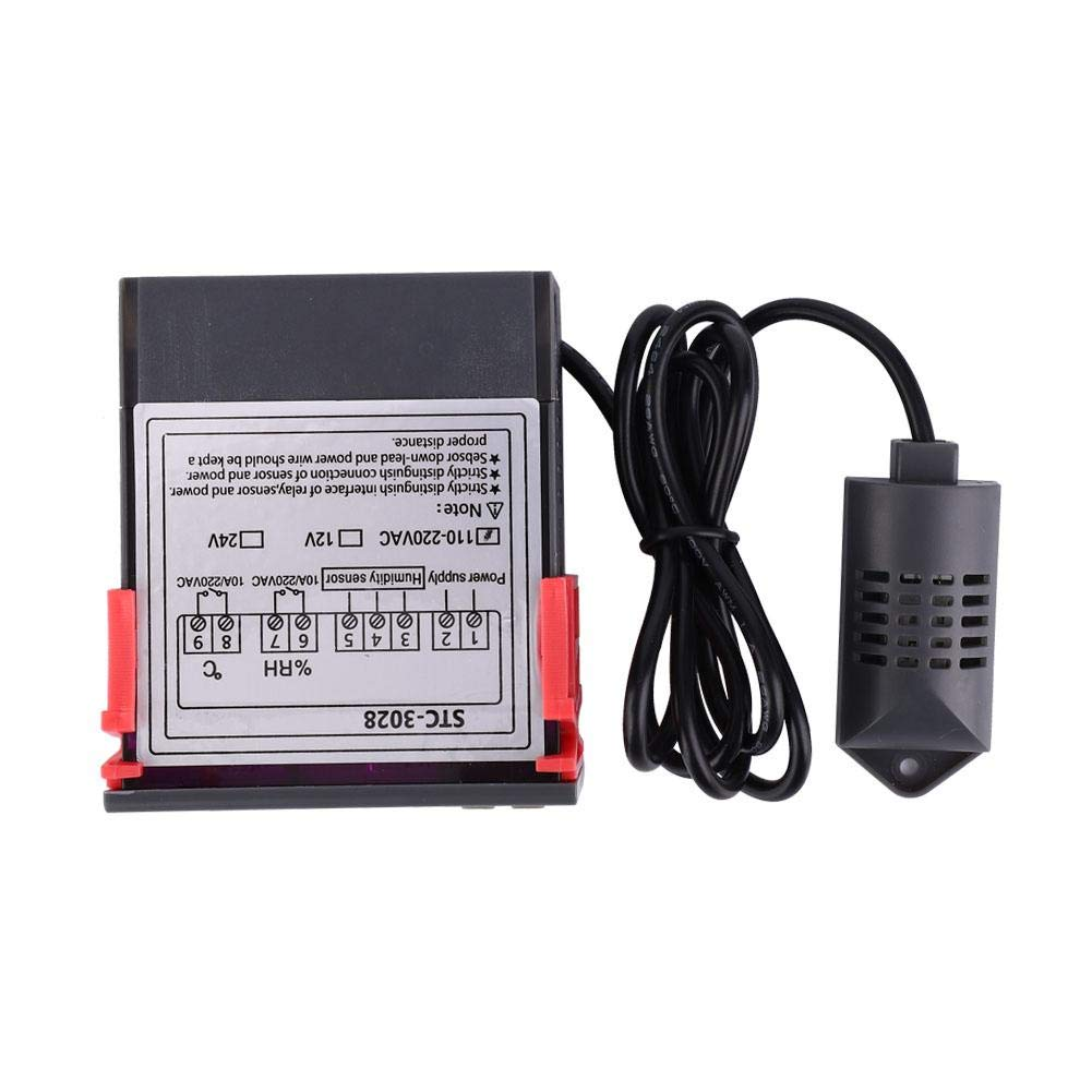 for Refrigeration and Heating Devices Intelligent Dual Screen Dual Display Thermostat Temperature Controller STC-3028 Digital Temperature /& Humidity Controller 110V - 220VAC