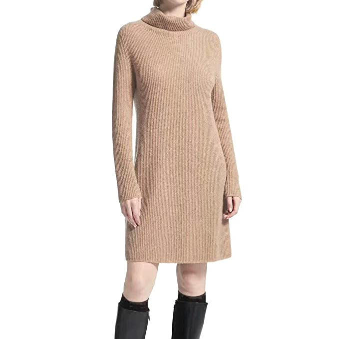 FINCATI Womens Long Sweater Dresses Cashmere Knited Turtleneck Sweater Dress Women
