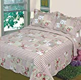 Fancy Collection 3pc Bedspread Bed Cover Pink Beige Green Flowers (California King)
