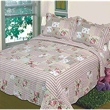 Amazon.com: Fancy Linen 3pc Bedspread Quilted Bed Cover Queen/king ... : cover quilt - Adamdwight.com
