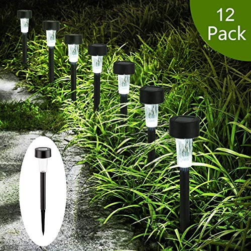 AMWGIMI Solar Pathway Lights - Solar Garden Lights Outdoor Solar Landscape Lights for Lawn, Patio, Yard, Walkway, Driveway Decorations (12 Pack)