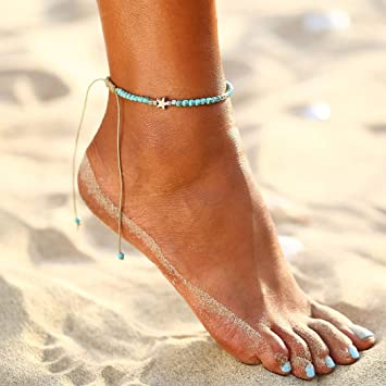 Simsly Bohemian Anklet Turquoise Ankle Bracelet with Toe Ring Foot Accessories Jewelry for Women and Girls Silver//1PC