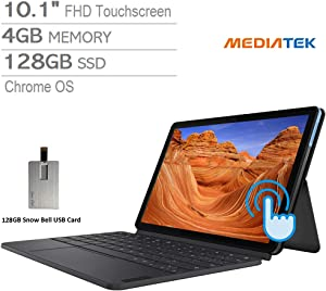 "2020 Lenovo Chromebook Duet 2-in-1 10.1"" FHD Touchscreen Tablet Computer, MediaTek Helio P60T Processor, 4GB RAM, 128GB, ARM G72 MP3 Graphics, Keyboard, Webcam, Chrome OS, Blue+Gray, 128GB USB Card"