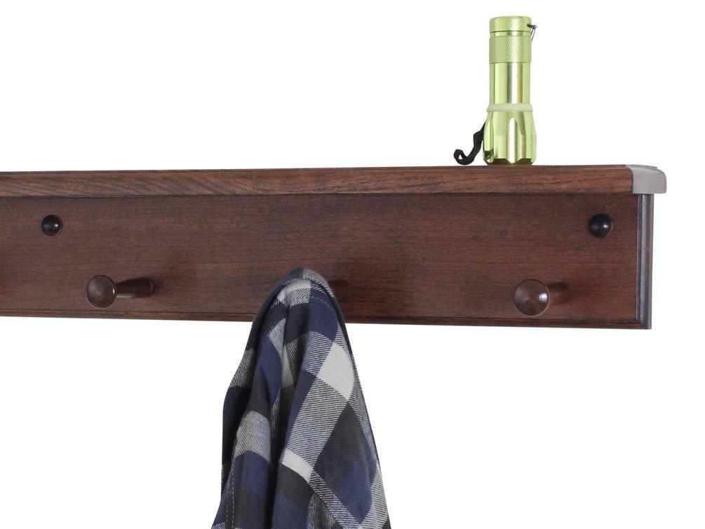 Solid Cherry Shaker Peg Rack con estante - fabricado en los ...