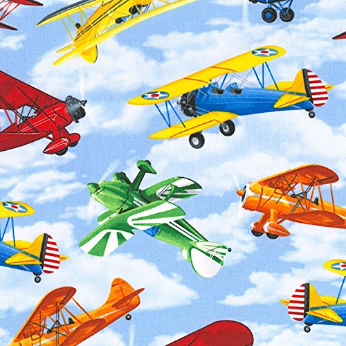 1 Yard Sky Planes from Timeless Treasures 100% Cotton Quilt Fabric C5891 Sky