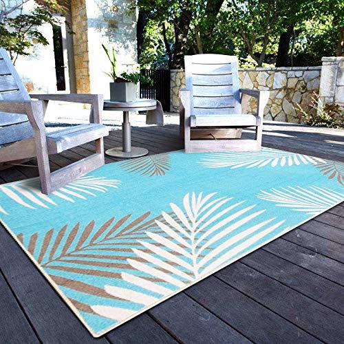 Homenovo Tropical Palms Blue Ivory Grey Outdoor Area Rug 4 x 6