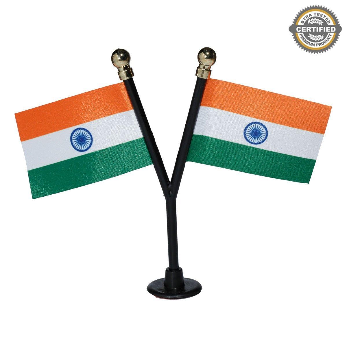The Flag Shop Dual Indian Miniature Car Dashboard Flags With A Black Y-Staff & Plastic Nano Base