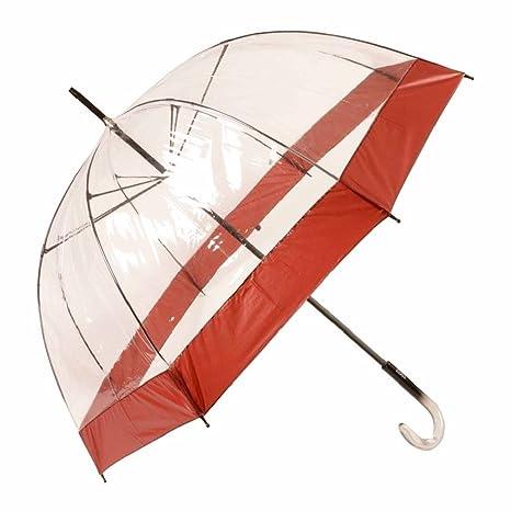 Paraguas largo mujer transparente Vogue manual aluminio franja roja