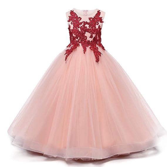 fc17d71e32e30 NNJXD Filles Fleur de Demoiselle d honneur Applique brodé de Mariage Robe de  Bal Pageant