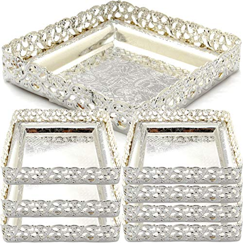 (Maro Megastore (Pack of 8) 4.3-Inch x 1-Inch(H) Square Chrome Plated Candy Cupcakes Nuts Peanuts Candy Sweet Biscuit Dessert Tea Dried Fruits Cake Jewelry Stand Serving Bucket Ashtray 2701S S Ts-196)