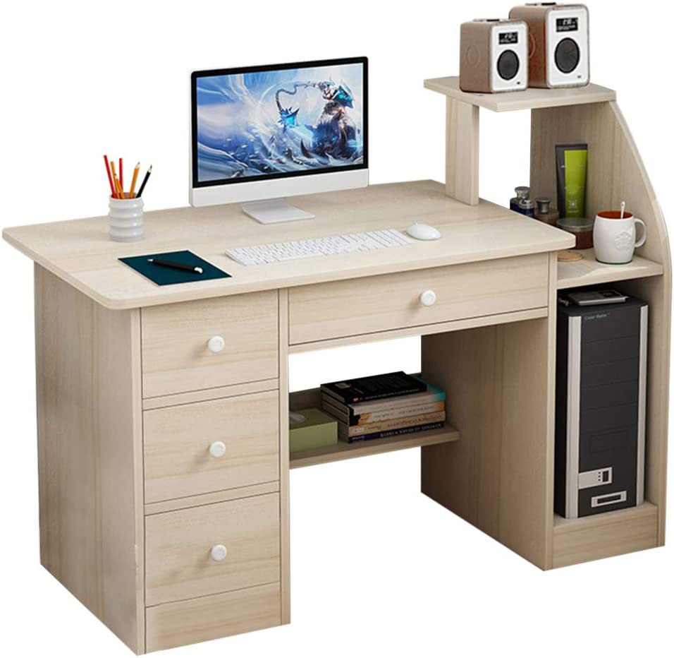 Computer Laptop Desk with Drawer Shelf, Children Study Desk and Bookcase Office Home PC Table with Mainframe Rack Modern Small Writing Learning Workstation (Beige)