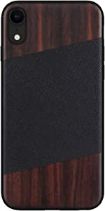 iATO iPhone XR Case Wood & Leather. Unique & Classy Black Saffiano Genuine Leather & Real Natural Bois de Rose Wood iPhone XR Case {Shockproof & Raised Lips} iPhone XR Real Wood & Genuine Leather Case