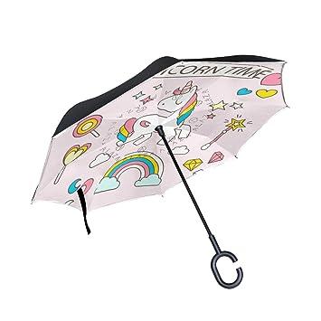FANTAZIO Paraguas invertido Unicornio Time Doble Capa protección UV reversa Paraguas autosoporte en Forma de C