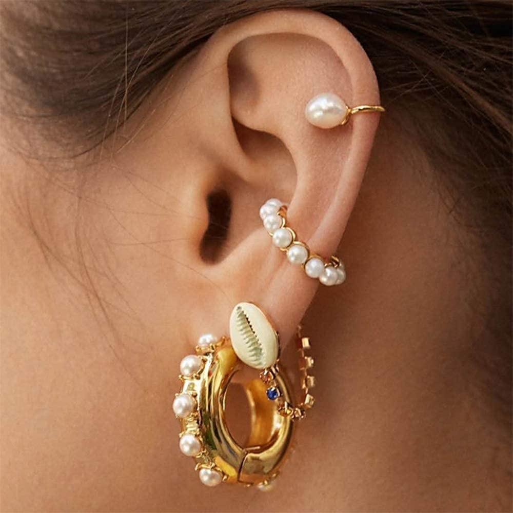 Ear Cartilage Cuff Colorful Clip on Hoop Earrings CZ Pearl Decorated for Women Non Piercing 8pcs set
