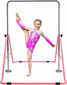 GT Sports Gymnastics Bars for Kids, Gymnastics Equipment for Home Folding Kip Trainning Bars with 4 Height Adjustable Gymnastics Bars for Girls, Boys Practice at Home