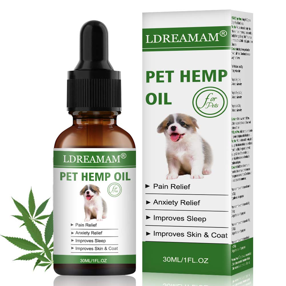 LDREAMAM Hemp Oil for Dogs Cats, Pets Hemp Oil for Pain Relief,Separation Anxiety Relief, Hips Pain, Pet Recovery, Sleep and Treats Skin by LDREAMAM