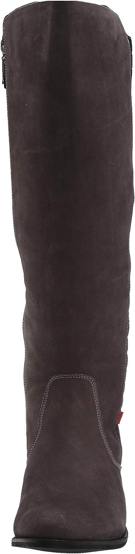 MARC JOSEPH NEW YORK Damen Leather Luxury High Top Riding Boot with Plaid Detail Kniehoher Stiefel Grau Nubuk
