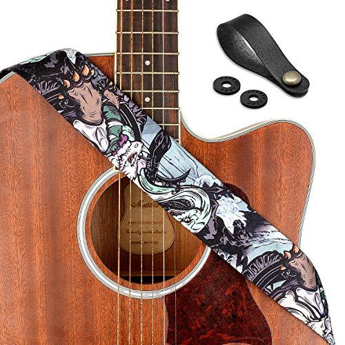 """Rinastore Guitar Strap Unique""""Black Tortoise"""" Shoulder Strap Includes Strap Button & 2 Strap Locks For Bass, Electric & Acoustic Guitars (Black Tortoise)"""