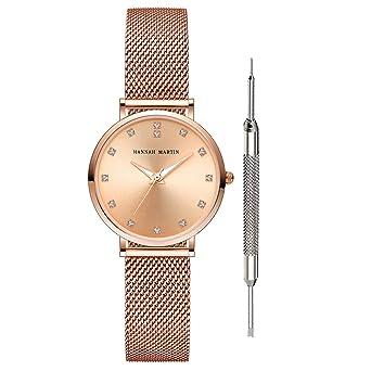 Hannah Martin Women s Rose Gold Watches Japan Analog Quartz Stainless Steel  Mesh Band Casual Ladies Wristwatch d3ed07d721