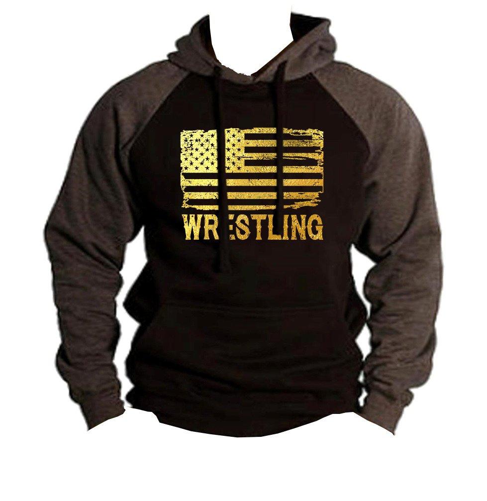 Interstate Apparel Men's Gold Foil Wrestling American Flag Black/Charcoal Raglan Baseball Hoodie Sweater Medium Black