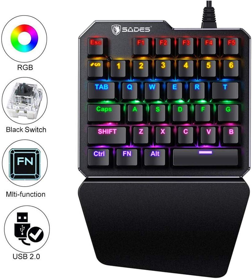 (Black Switch)One-Handed RGB Mechanical Gaming Keyboard SADES Half Keyboard Gaming Keypad Small Gaming Keyboard for PUBG/Fps Games/LOL/APEX/CSGO/Rainbow Six