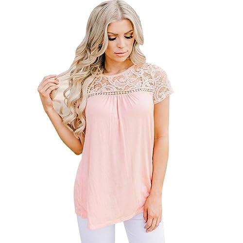 Blusas de mujeres, SHOBDW atractivas de la camiseta de manga corta de la Camiseta de sólida de Tops