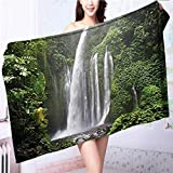 Made of 100% Premium Cotton Waterfall Rain in Indonesia Tropical Trees Adventure Green Lightweight, High Absorbency L39.4 x W19.7 INCH
