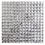 Silver Mirror Glass Mosaic Tile Crystal Diamond Mosaic Tile 3/4 inch,22 Sheets/Box