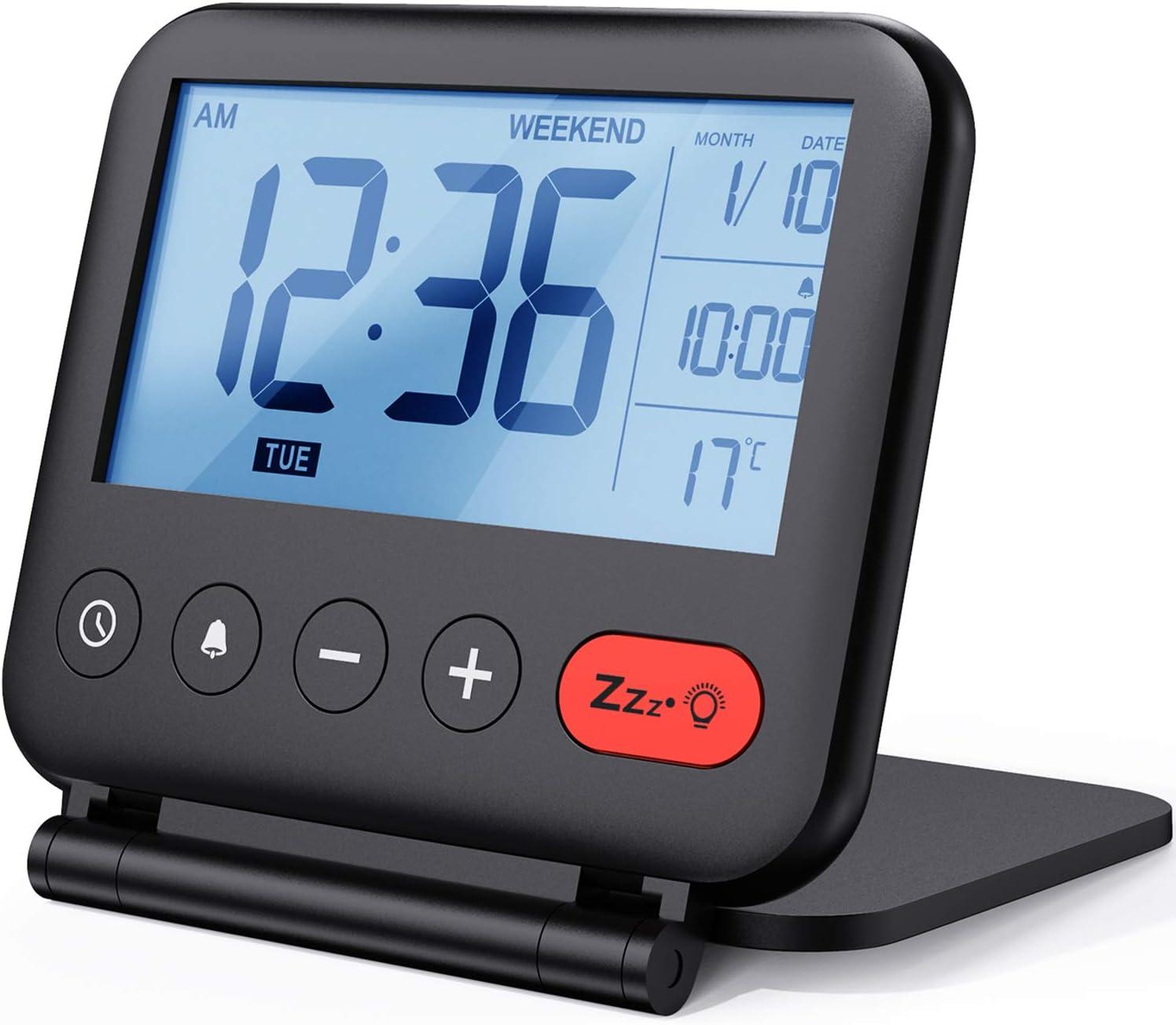 NOKLEAD Reloj despertador digital de viaje - Mini reloj pantalla LCD portátil calendario retroiluminado, Temperatura del calendario espejos cosméticos, reloj de escritorio plegable (negro)