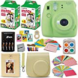 Fujifilm Instax Mini 9 Instant Camera LIME GREEN + Fuji INSTAX Film (40 Sheets) + Accessories Kit / Bundle + Custom Case + 4 AA Rechargeable Batteries & Charger + Assorted Frames + Photo Album +MORE