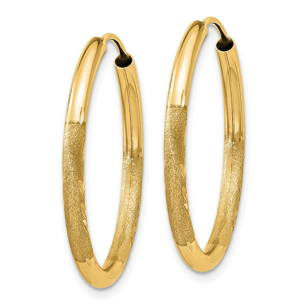 Mia Diamonds 14k Yellow Gold 2mm Satin Diamond-cut Endless Hoop Earrings