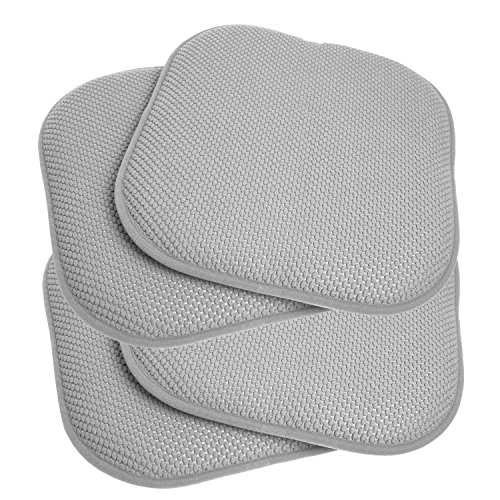Kitchen Pad (Sweet Home Collection Memory Foam Honeycomb Non-Slip Back Chair/Seat Cushion Pad (4 Pack), 16
