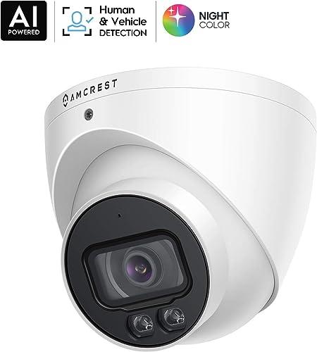 Amcrest NightColor AI UltraHD PoE Turret Camera w 66ft Full NightColor