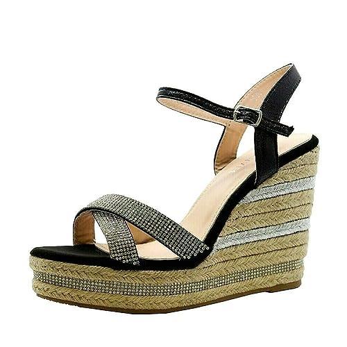 Señoras de Las Mujeres Correa del Tobillo Alpargatas Plataforma tacón de cuña Alta Sandalias Zapatos Tamaño 36-41: Amazon.es: Zapatos y complementos