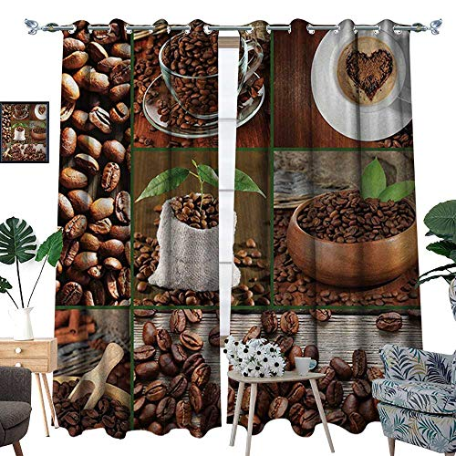 RenteriaDecor Brown Patterned Drape for Glass Door Collage of Coffee Beans in Cups and Bags with Green Leaves on Wooden Table Photo Waterproof Window Curtain W108 x L96 Brown Green ()