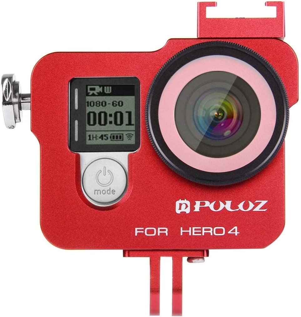 Housing Shell CNC Aluminum Alloy Protective Cage with 37mm UV Lens Filter /& Lens Cap for GoPro HERO4 Durable Color : Red